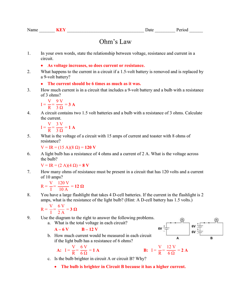 Ohms Law Key  Northern Highlands With Regard To Ohms Law Practice Worksheet