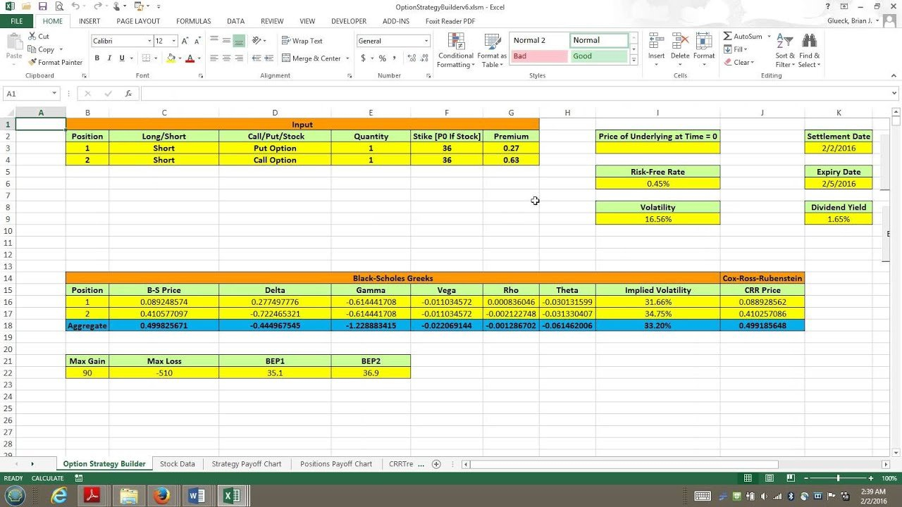 Option Strategy Builder Excel Vba Demo - Youtube Throughout Option Strategy Excel Spreadsheet