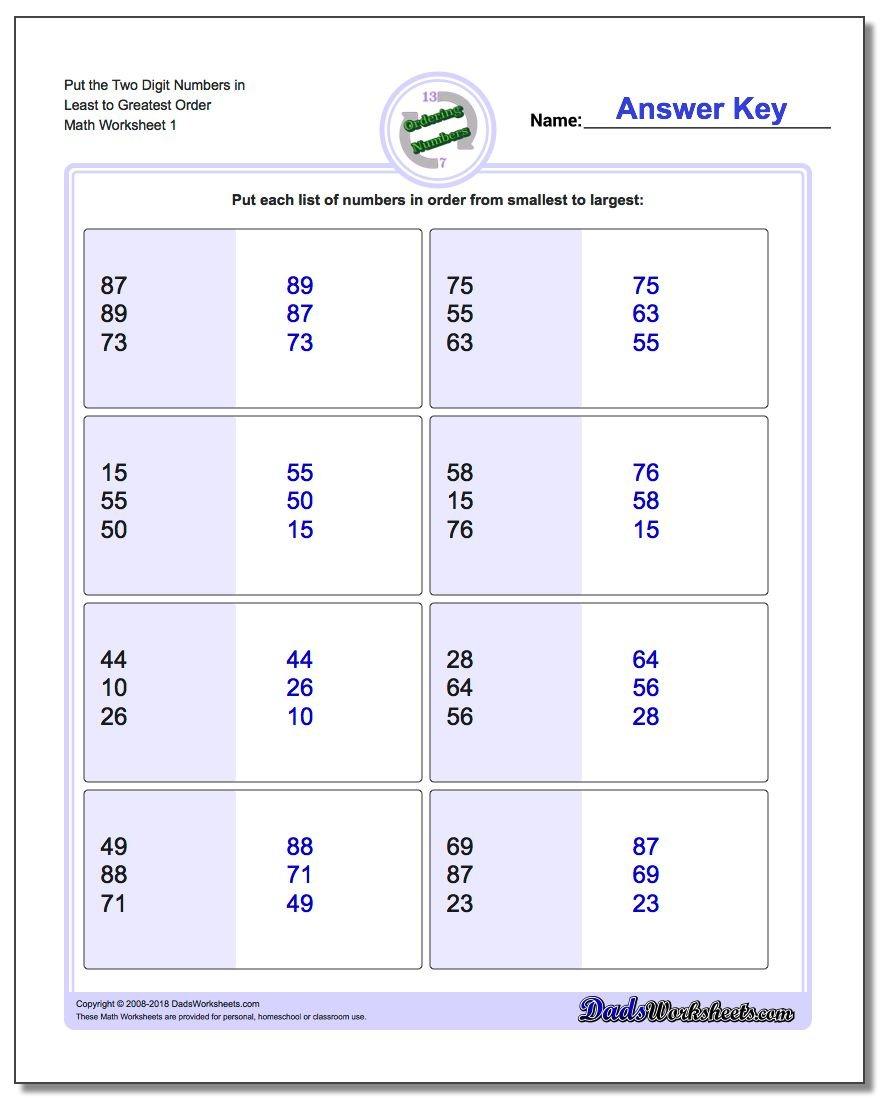 Ordering Numbers Inside Ordering Numbers Worksheets