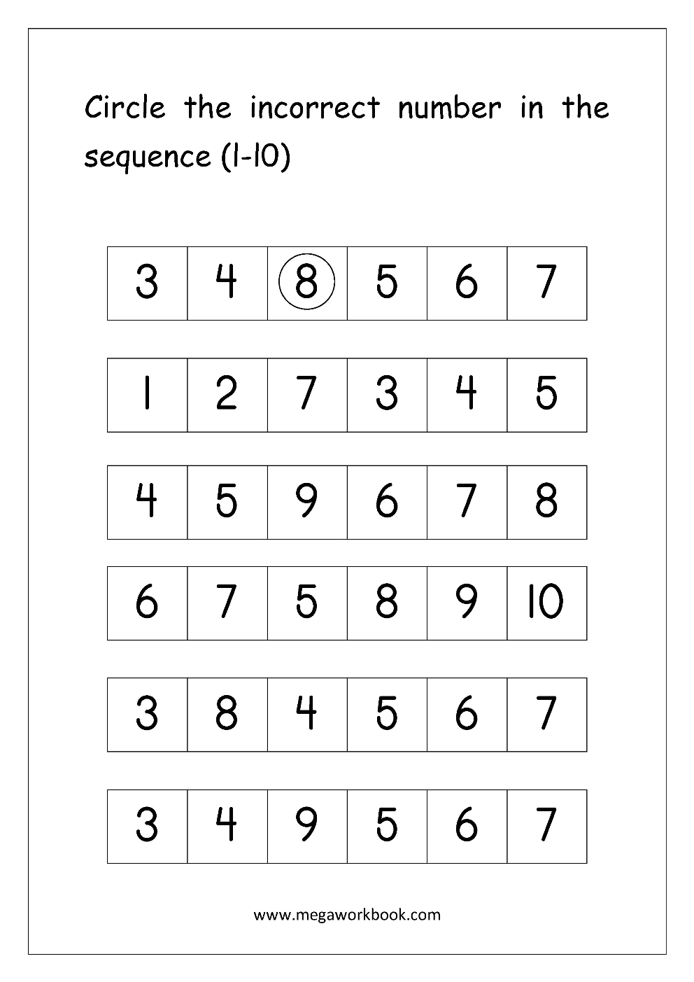 Ordering Numbers Worksheets Missing Numbers What Comes Before And And Ordering Numbers Worksheets