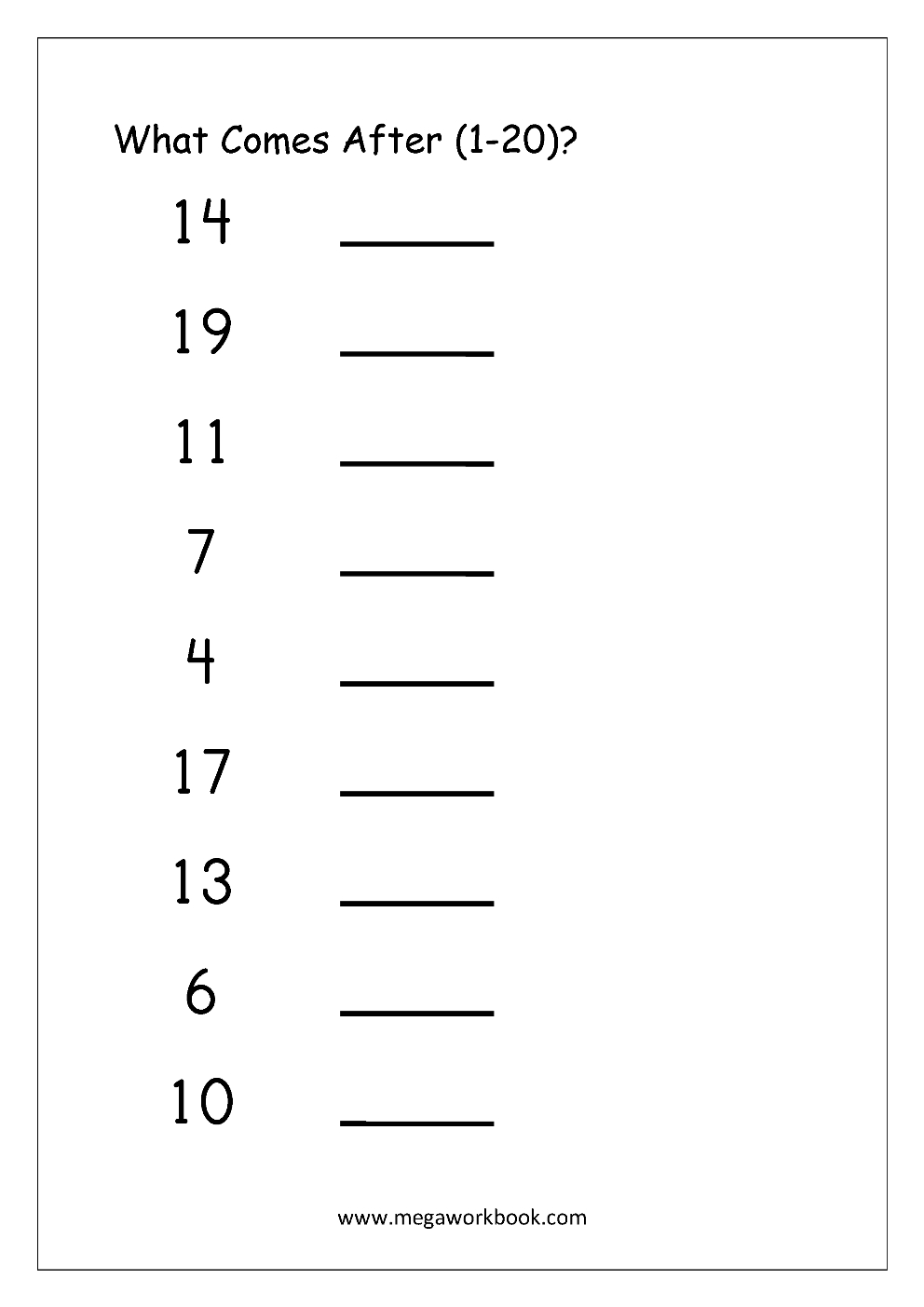 Ordering Numbers Worksheets Missing Numbers What Comes Before And For Number Tracing Worksheets 1 20