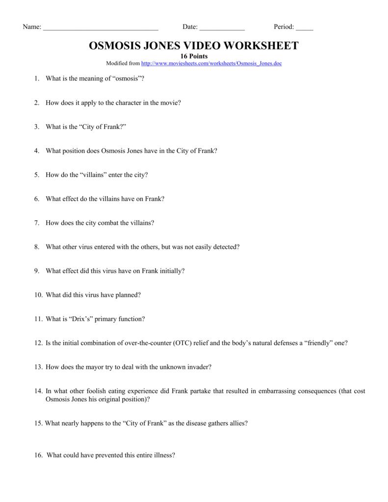 Osmosis Jones Video Worksheet Intended For Osmosis Jones Video Worksheet Answers