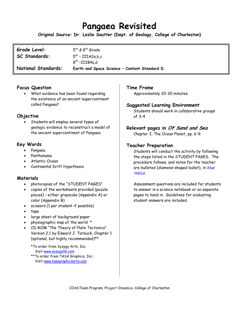 Pangaea Revisited Within Pangea Worksheet Answers