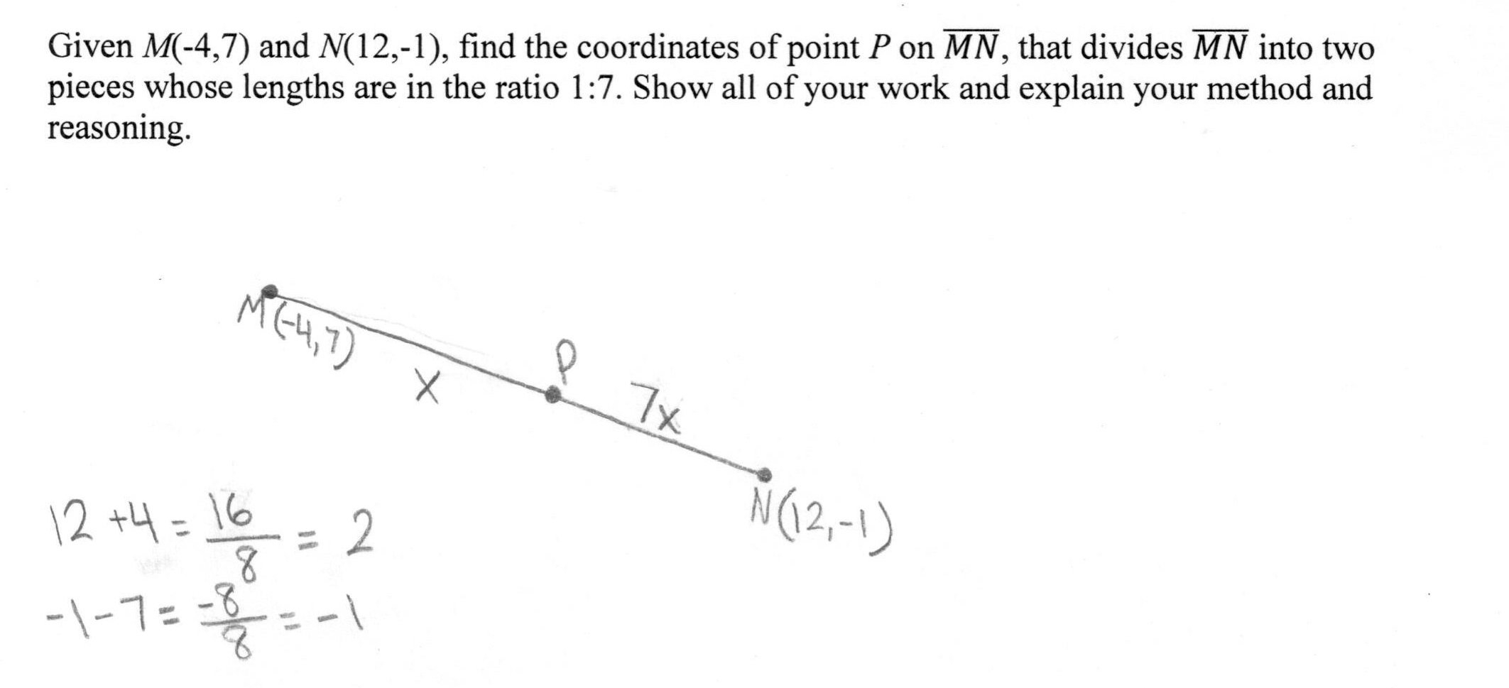 Partitioning A Segment Students Are Asked To Find The Coordinates Of Pertaining To Partitioning A Line Segment Worksheet