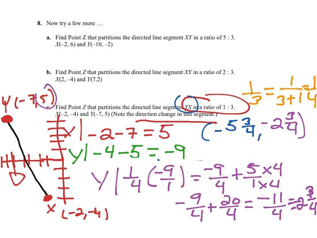 Partitioning Line Segment  Math Geometry  Showme Together With Partitioning A Line Segment Worksheet