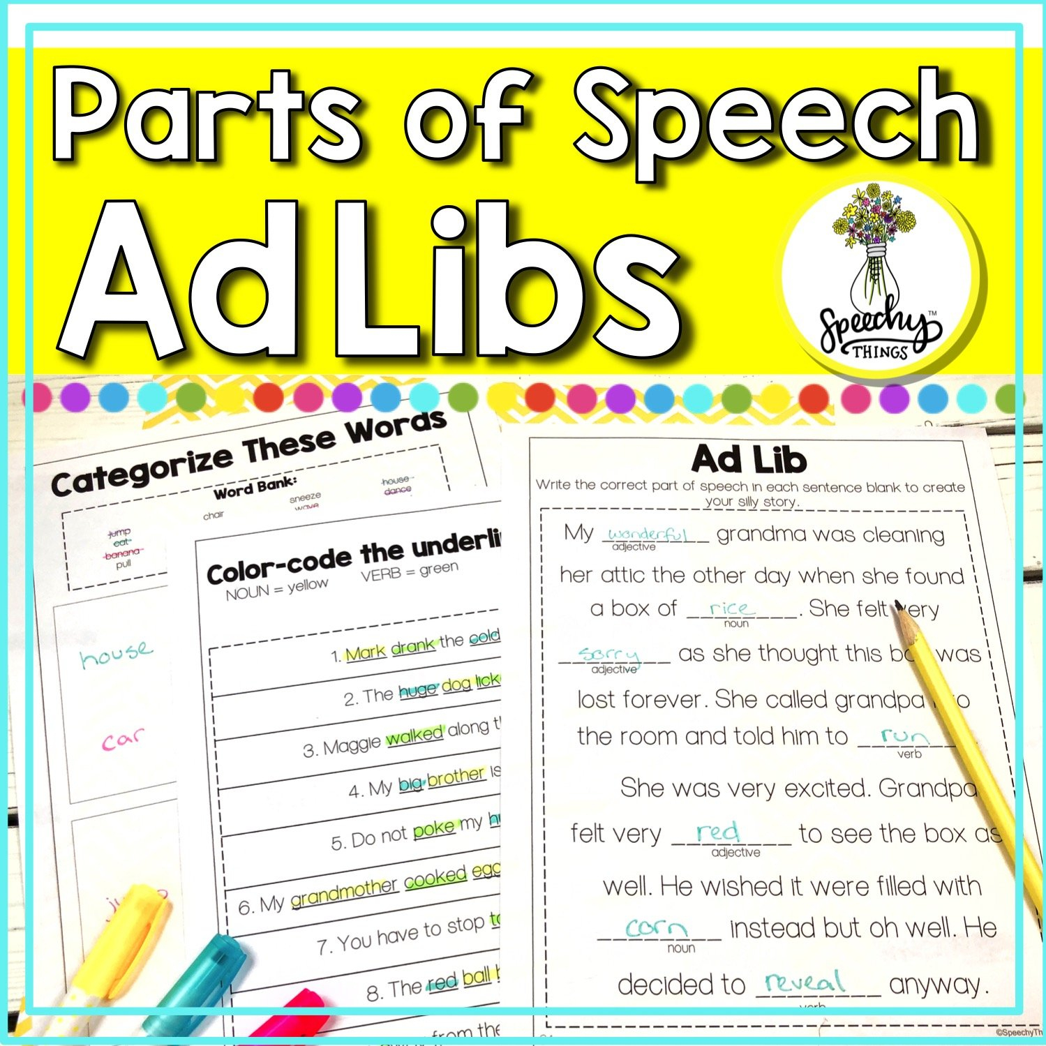 Parts Of Speech Worksheets  Adlibs • Speechy Things Throughout Speech Therapy Worksheets