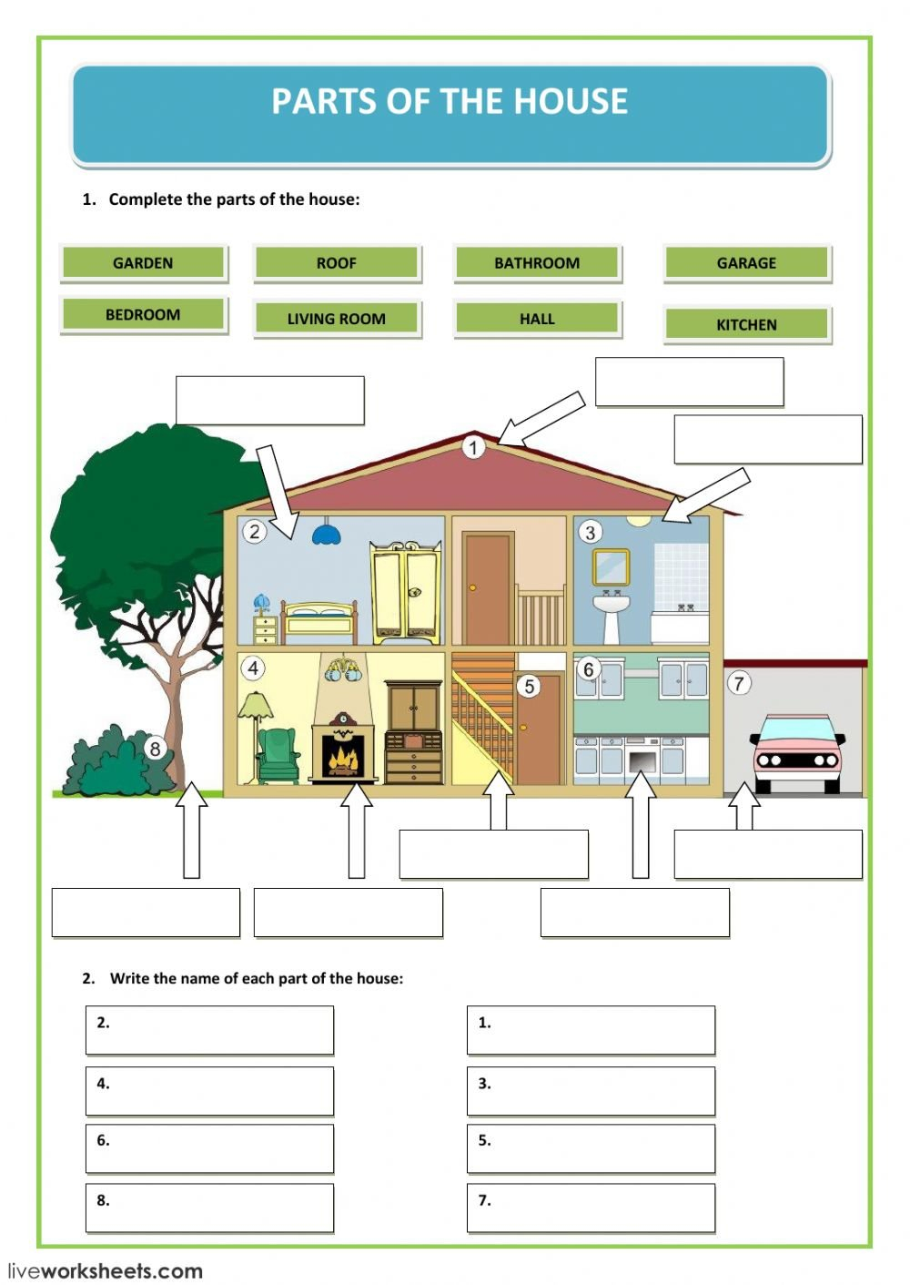 Parts Of The House  Interactive Worksheet Intended For Parts Of A Check Worksheet