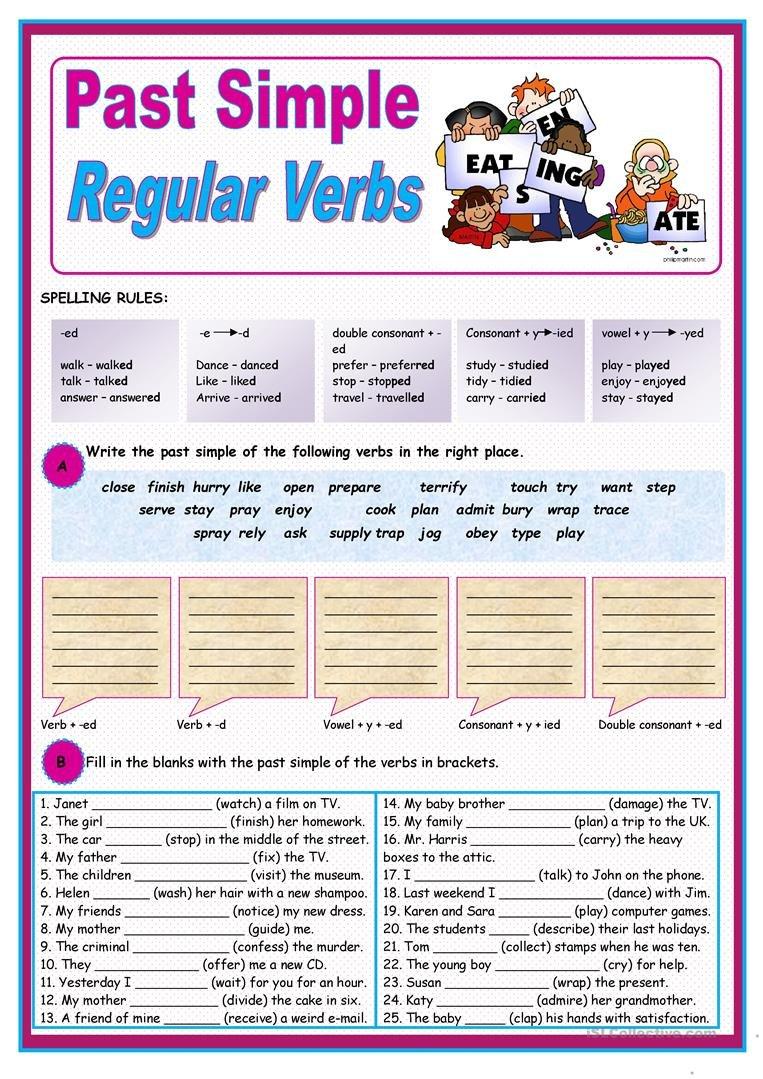 Past Simple Of Regular Verbs Worksheet  Free Esl Printable Also Y To Ied Worksheets