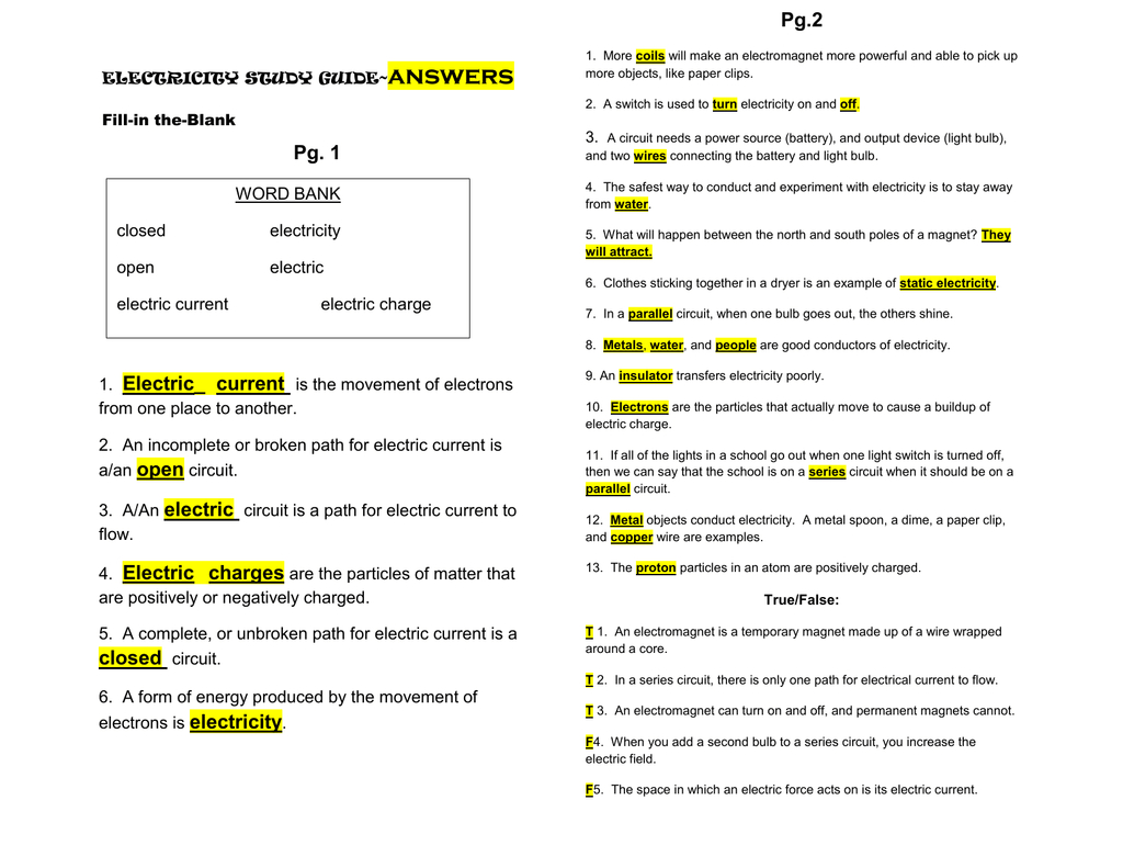 Pdf Electricity Study Guideanswer Key As Well As Electricity Worksheet Pdf