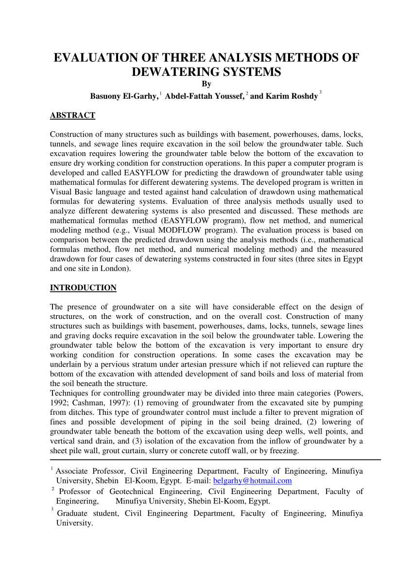 Pdf) Evaluation Of Three Analysis Methods Of Dewatering Systems Intended For Dewatering Calculation Spreadsheet