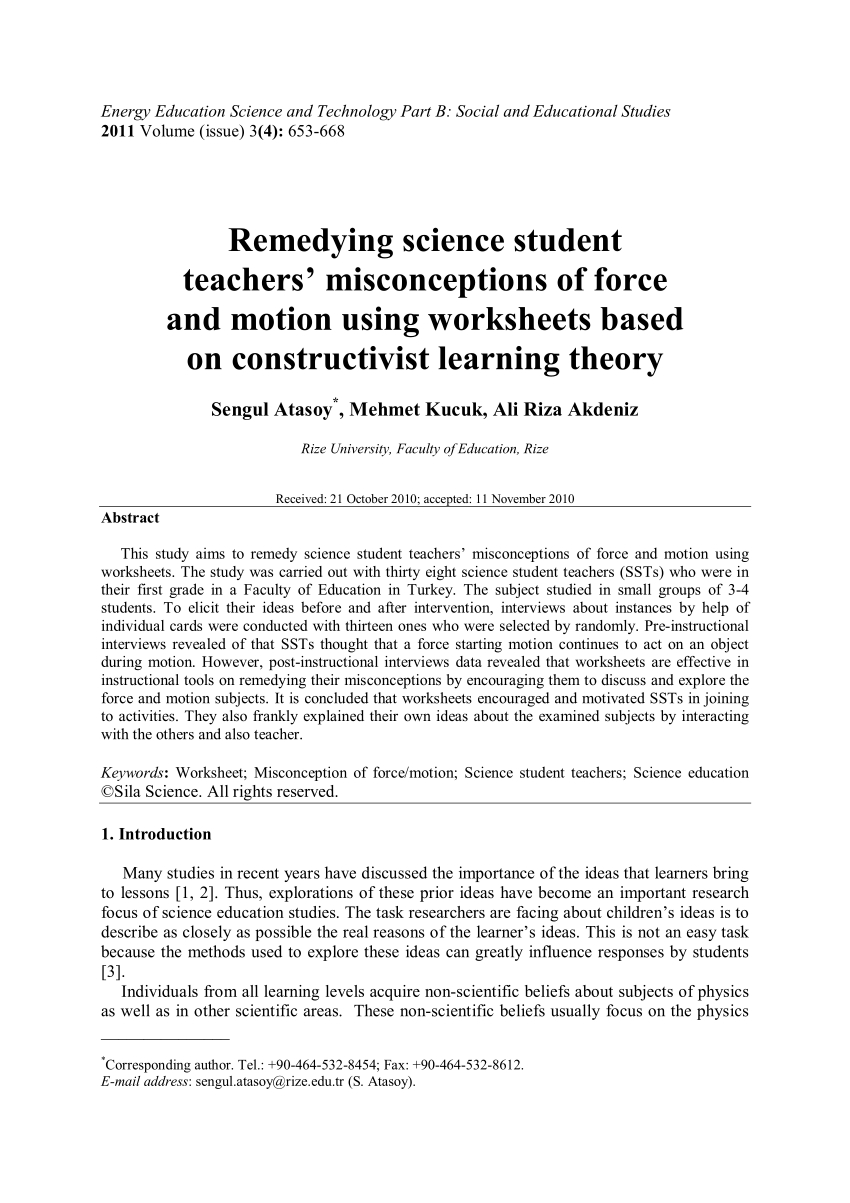 Pdf Remedying Science Student Teachers' Misconceptions Of Force And Within Force And Motion Worksheets 3Rd Grade