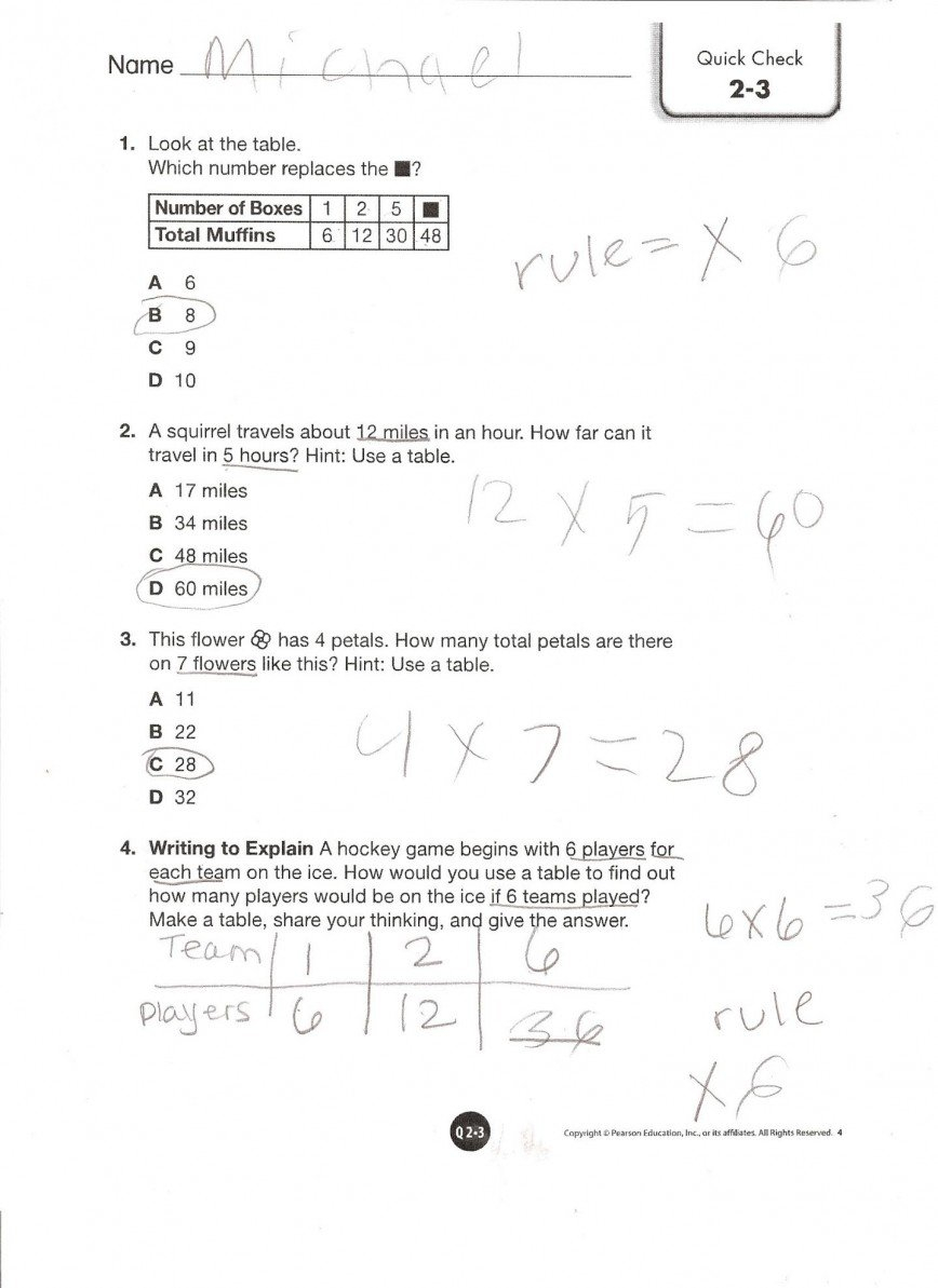 Pearson Education 5Th Grade Math Worksheets Collection Of Solutions Within Pearson Education Math Worksheets Answers