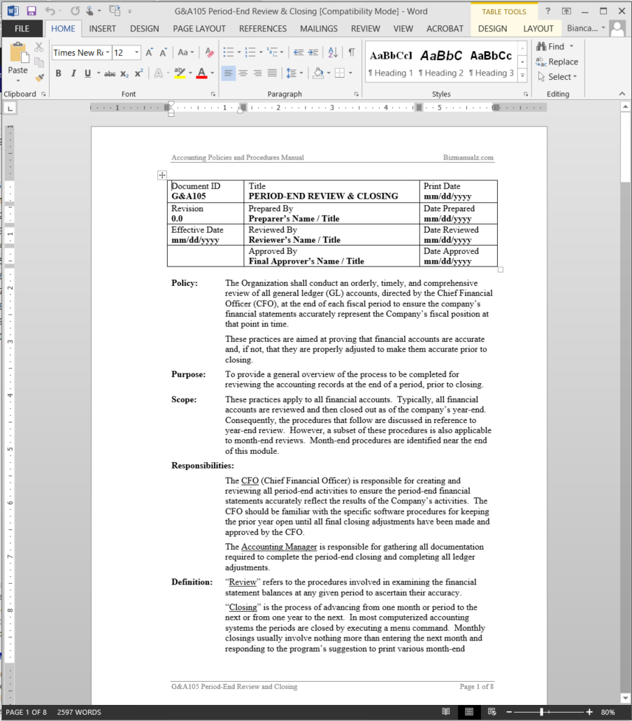 Period End Review And Month End Accounting Closing Process Procedure For Month End Accounting Checklist Template