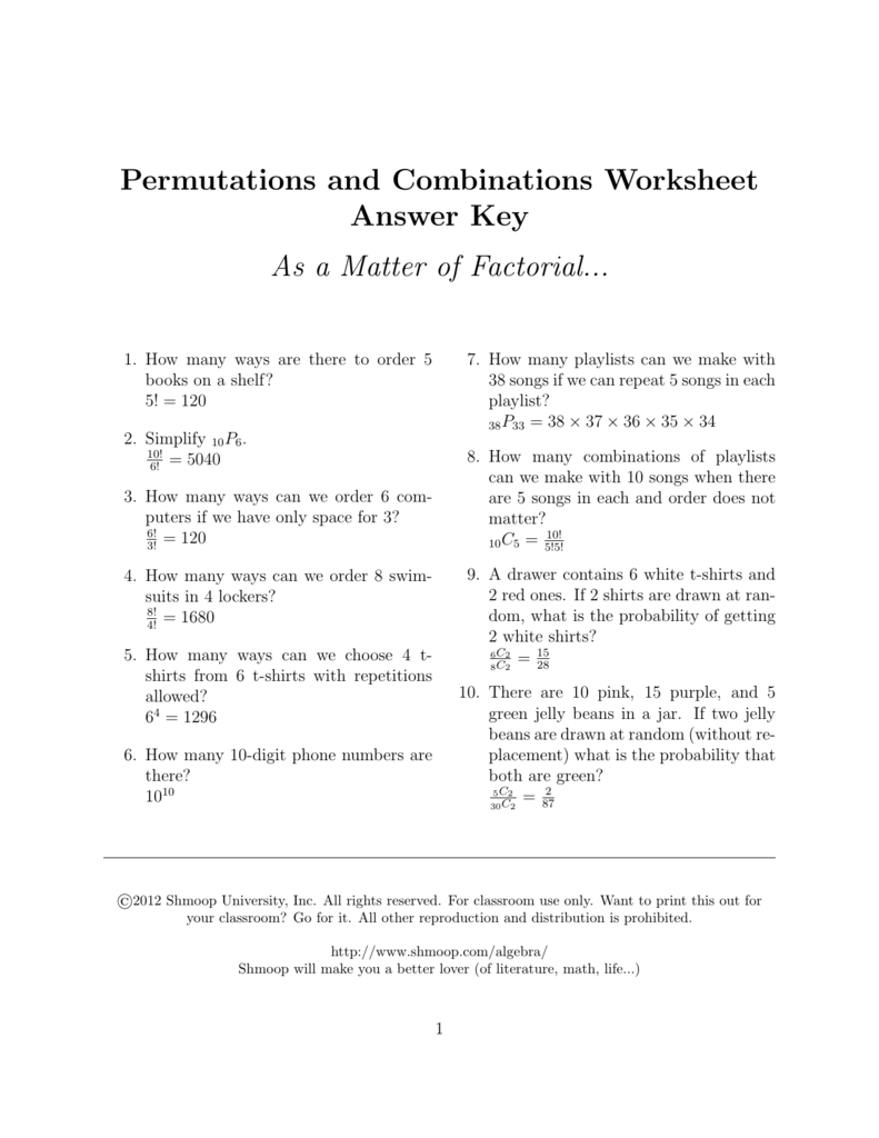 Permutations And Combinations Worksheet Answer Key Inside Permutations And Combinations Worksheet Answer Key