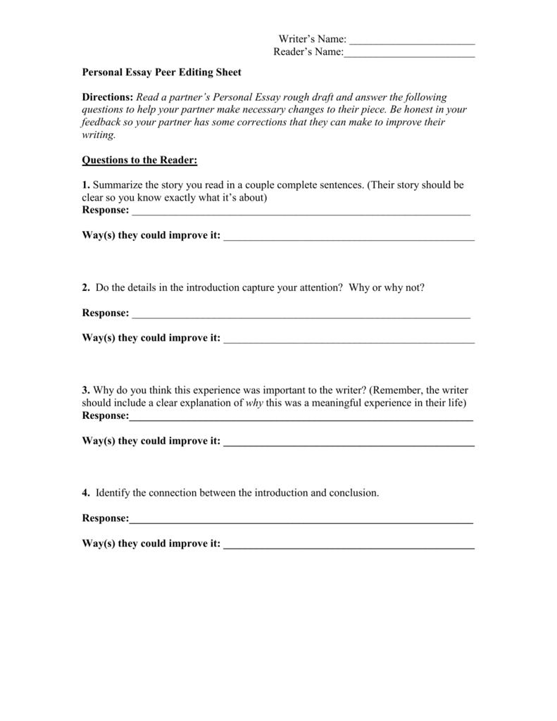 Personal Narrative Peer Editing Sheet And Personal Narrative Peer Review Worksheet