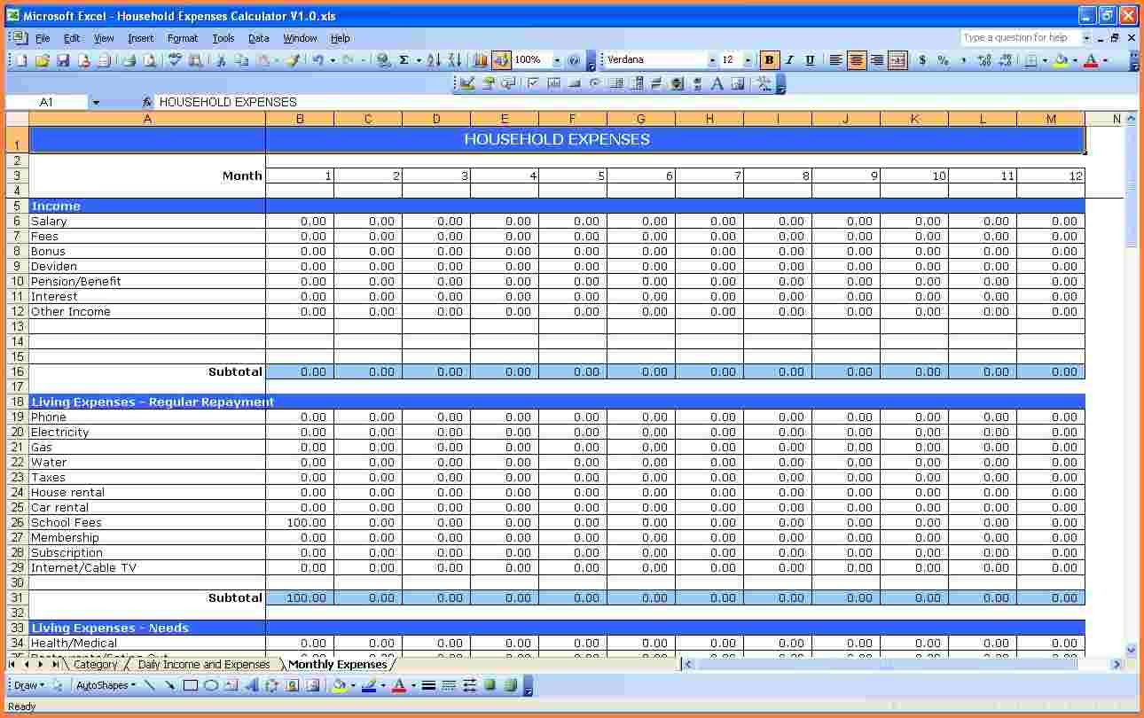 Personal Y Budget Spreadsheet Example Excel Worksheet Pdf Simple ... Or Monthly Expenses Spreadsheet Template Excel