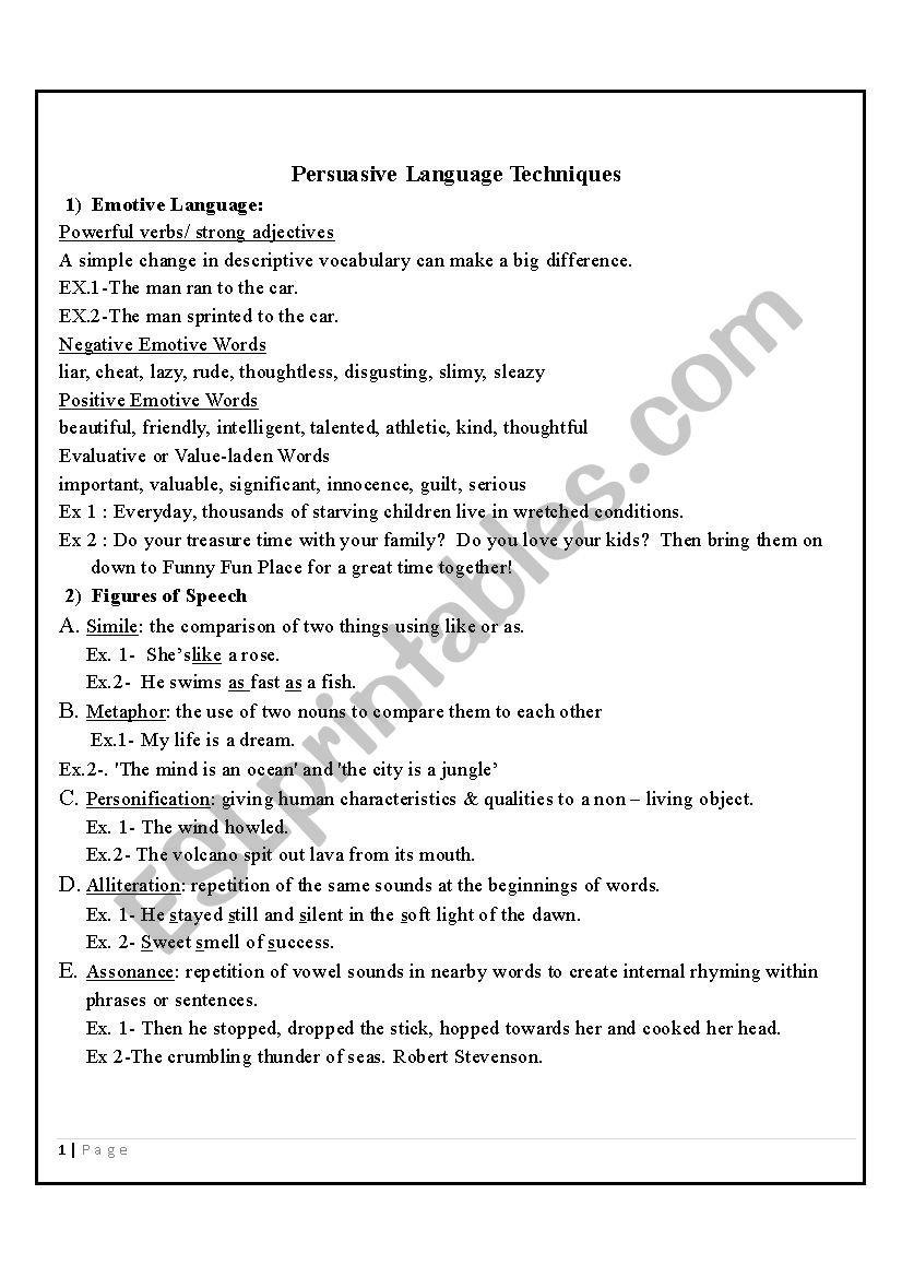 Persuasive Techniques  Esl Worksheethamdiali16283 Regarding Persuasive Techniques Worksheets