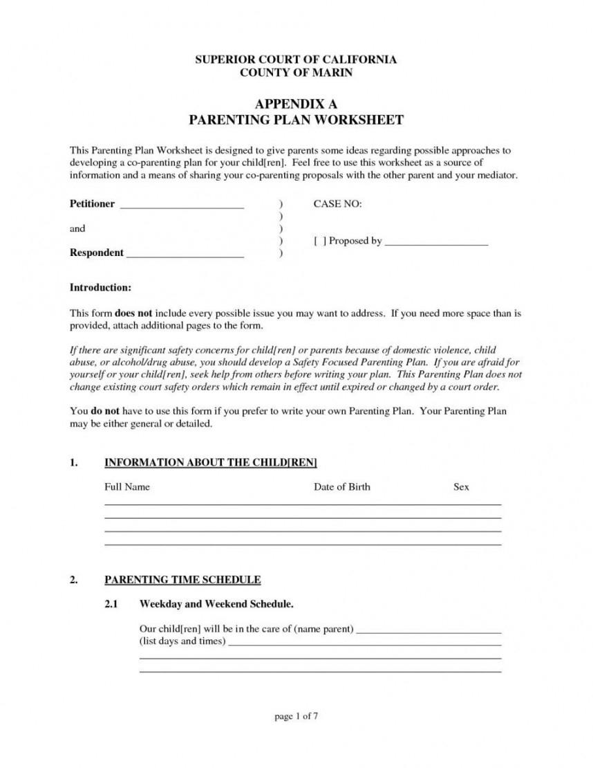 Phenomenal Georgia Parenting Plan Template Templates Proposed Form As Well As Parenting Plan Worksheet