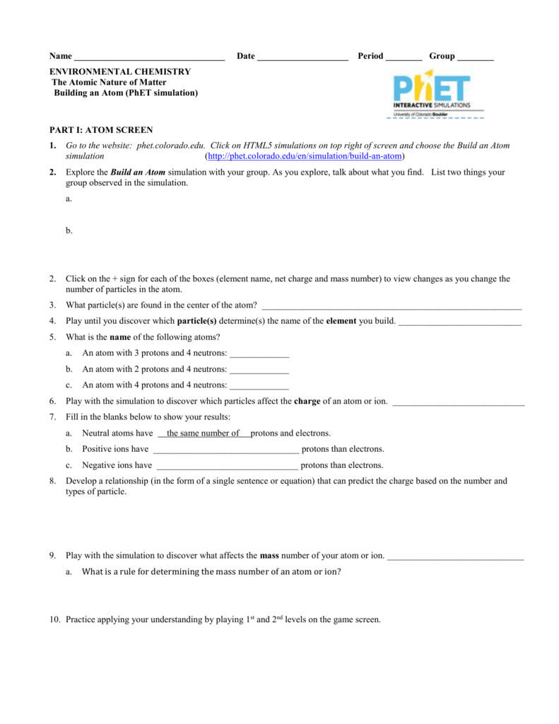 Phet Build And Atom With Regard To Build An Atom Simulation Worksheet Answers