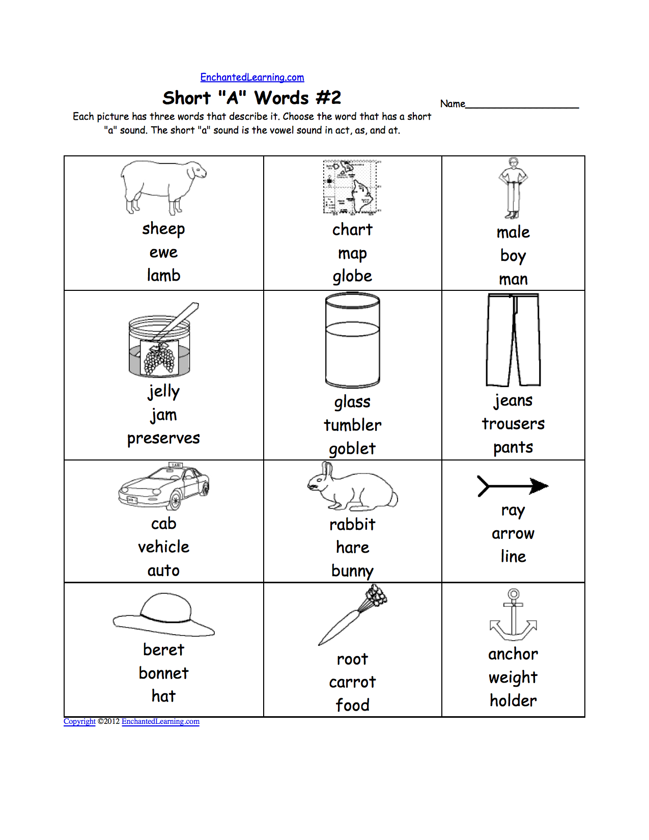 Phonics Worksheets Multiple Choice Worksheets To Print And Words With The Same Vowel Sound Worksheets
