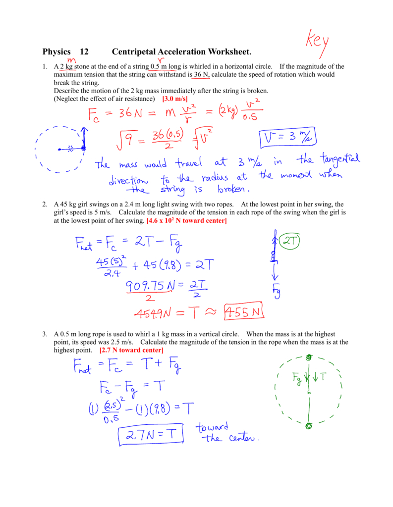 Physics 12 Centripetal Acceleration Worksheet With Regard To Centripetal Force Worksheet With Answers