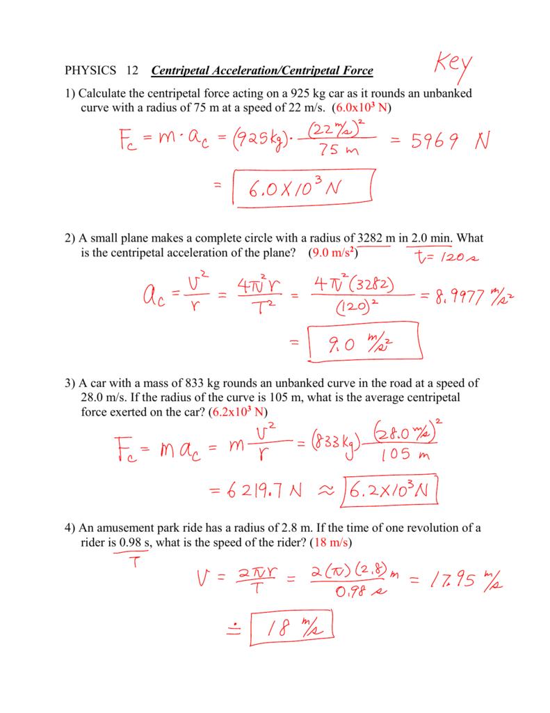Physics 12 Centripetal Accelerationcentripetal Force Within Centripetal Force Worksheet With Answers
