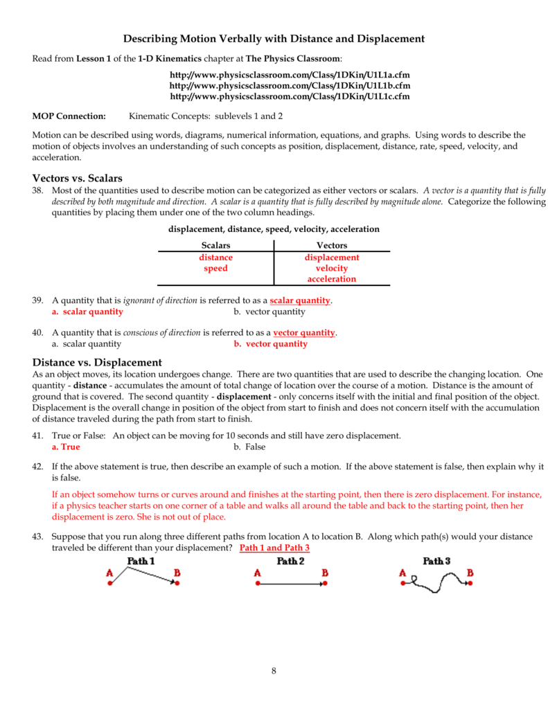 Physics Classroom Worksheets Key Unit 1 With Motion In One Dimension Worksheet Answers