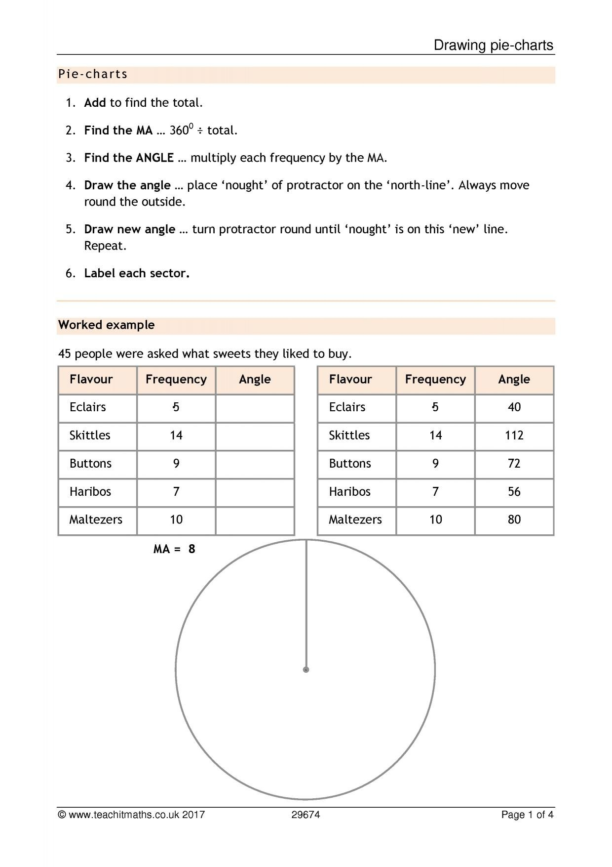 Piecharts  An Introduction In Pie Chart Worksheets