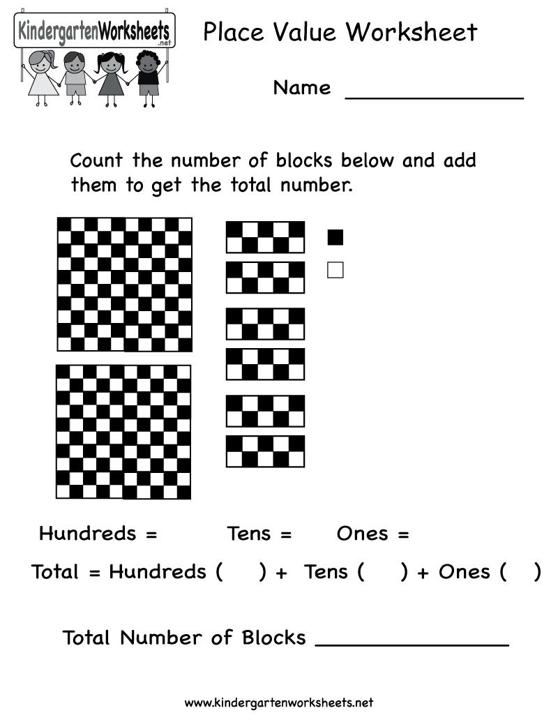 Place Value Worksheet  Free Kindergarten Math Worksheet For Kids Also Place Value Worksheets For Kindergarten