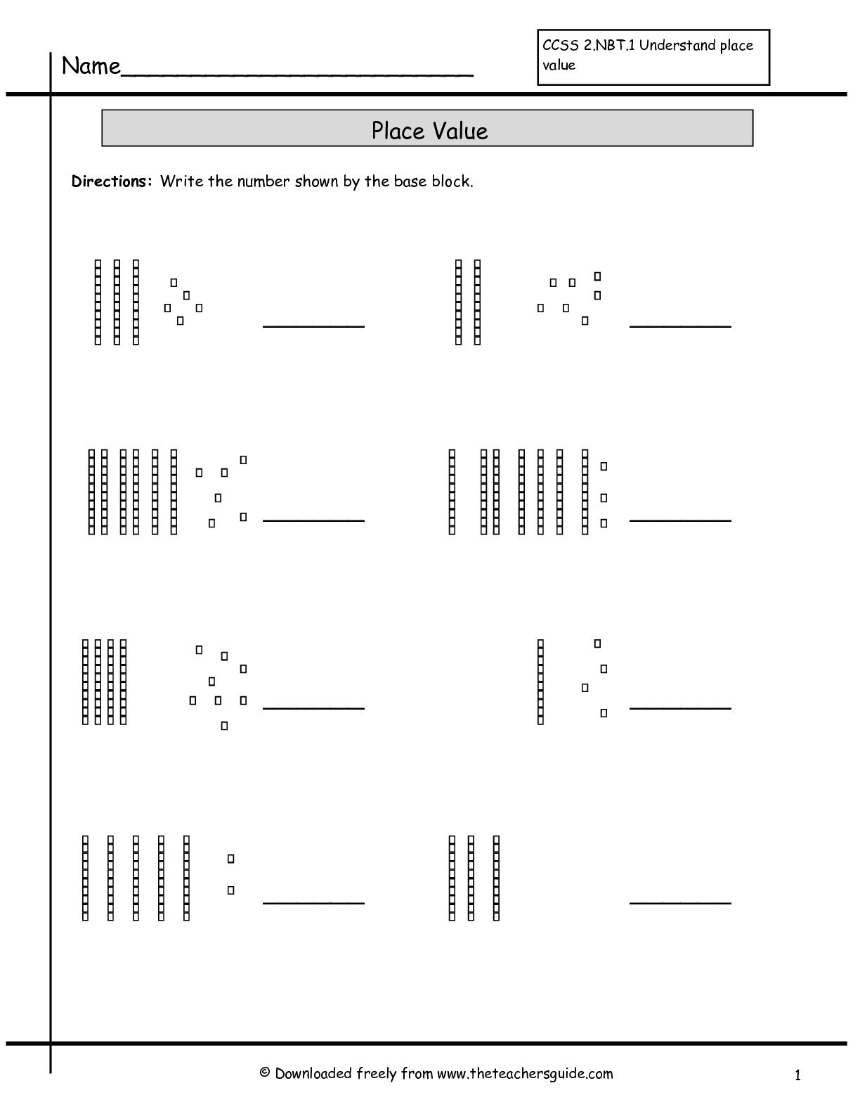 Place Value Worksheets From The Teacher's Guide With Regard To Base Ten Worksheets