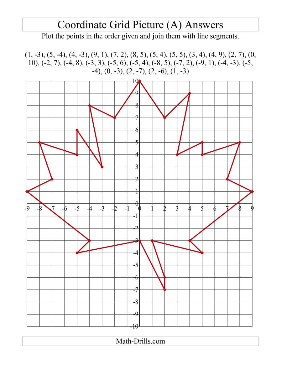 Plotting Coordinate Points Art  Red Maple Leaf A In Plotting Points On A Graph Worksheet