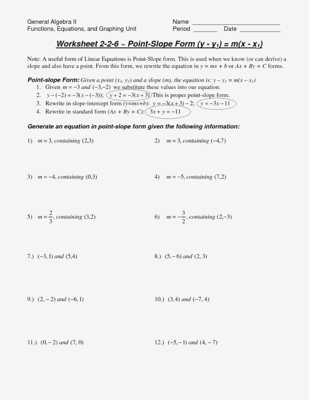 Point Slope Form Worksheet With Answers Unique Similar Triangles To Also Point Slope Form Worksheet With Answers