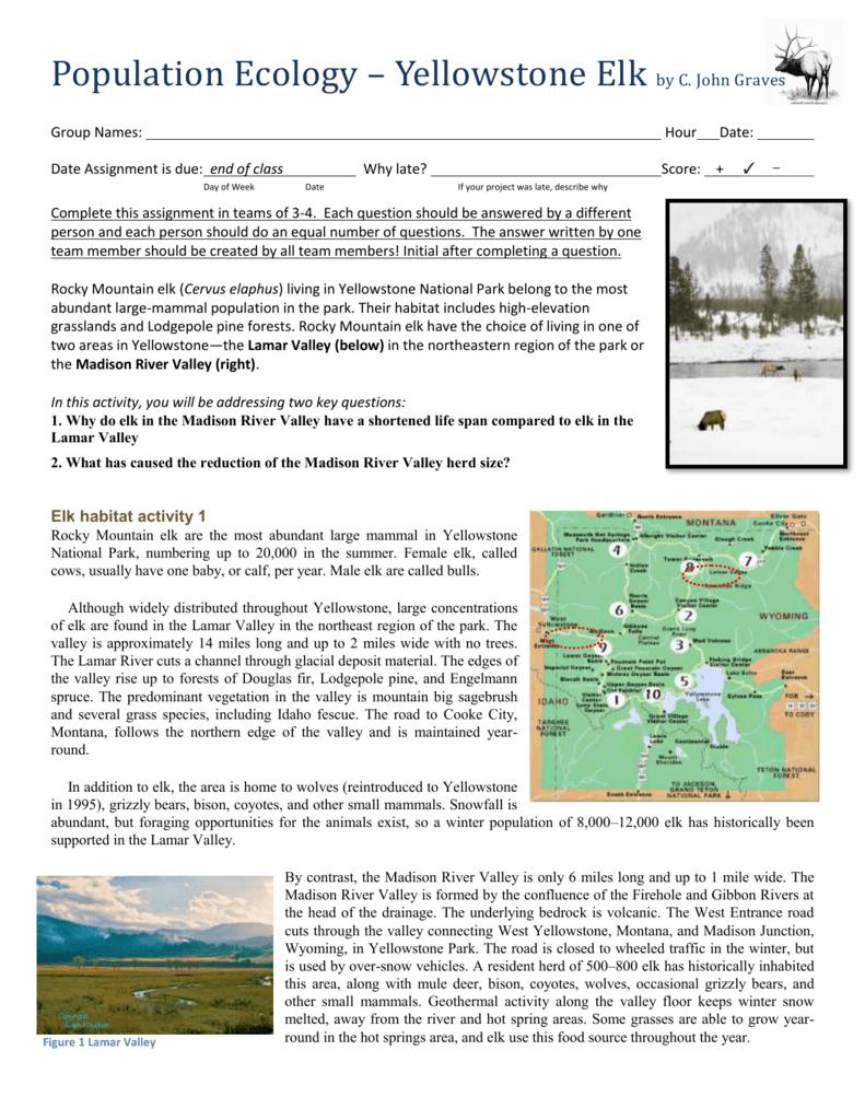 Population Ecology Worksheet Inside Wolves In Yellowstone Worksheet