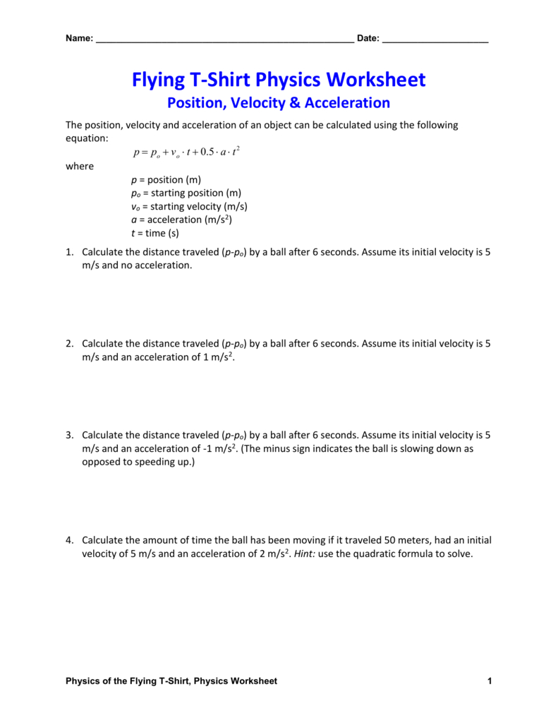 Position Velocity  Acceleration Physics Worksheet Within Acceleration Calculations Worksheet