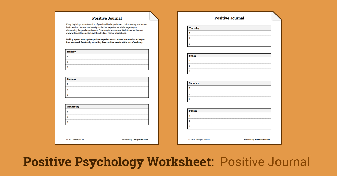 Positive Journal Worksheet  Therapist Aid As Well As Therapy Aide Worksheets
