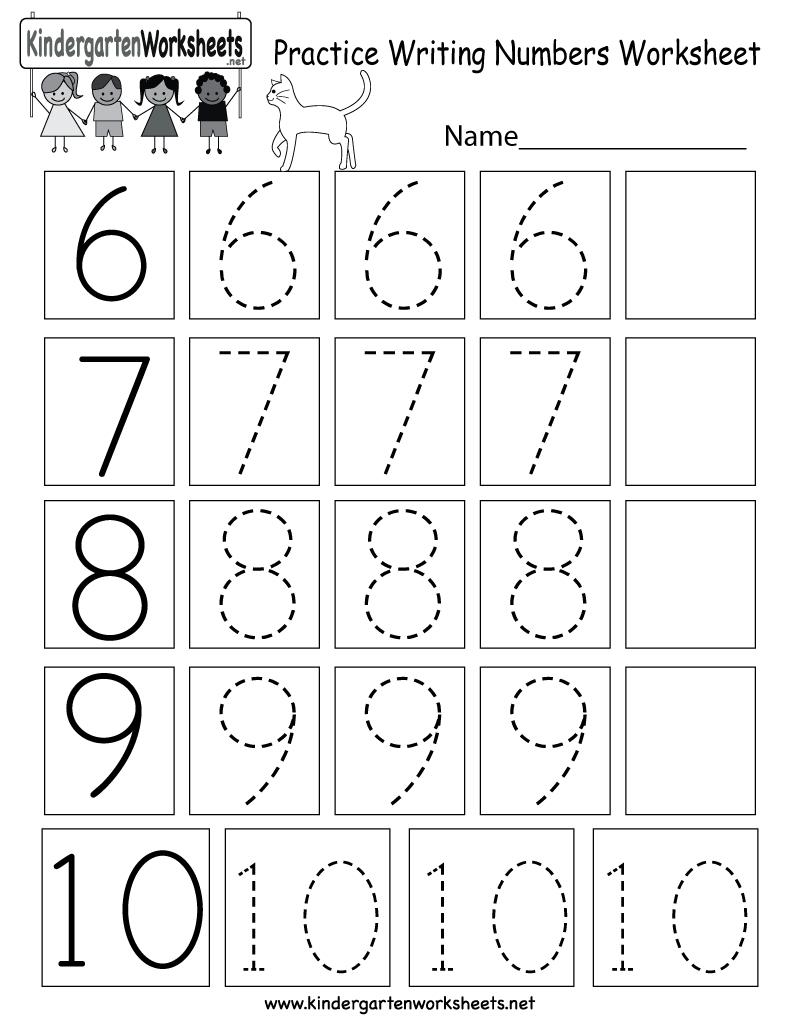 Practice Writing Numbers Worksheet  Free Kindergarten Math Along With Writing Numbers Worksheet