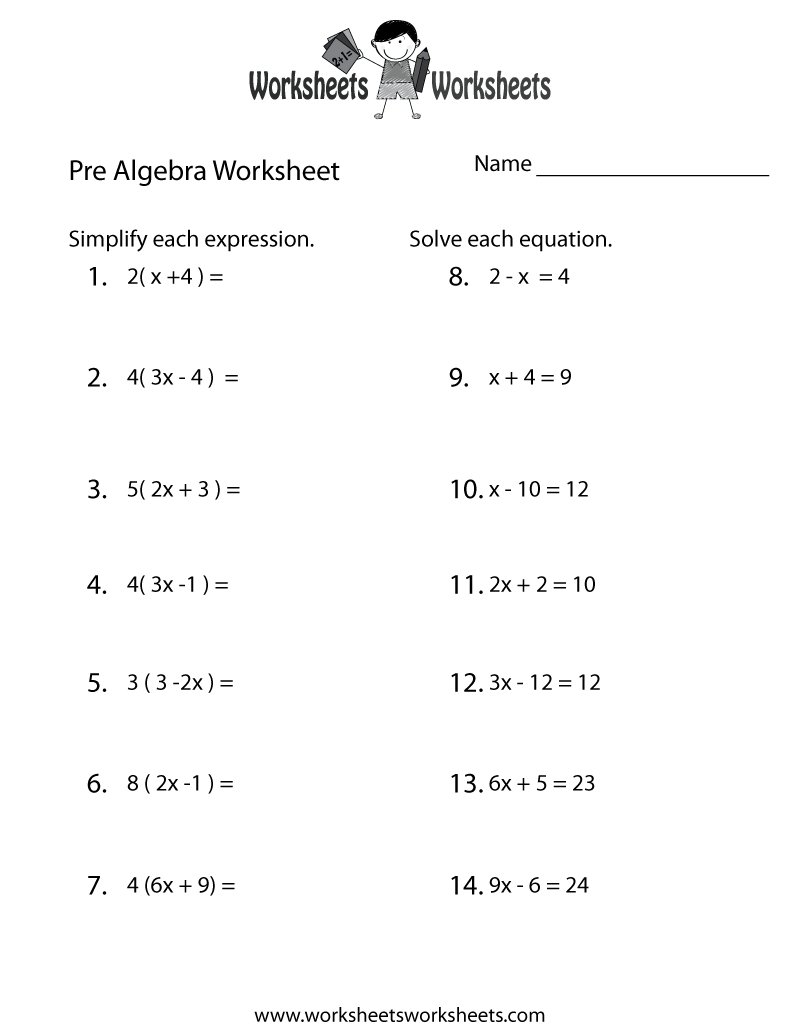 Pre Algebra Worksheets For 7Th Graders Free Printable Math Intended For Systems Of Equations Substitution Worksheet