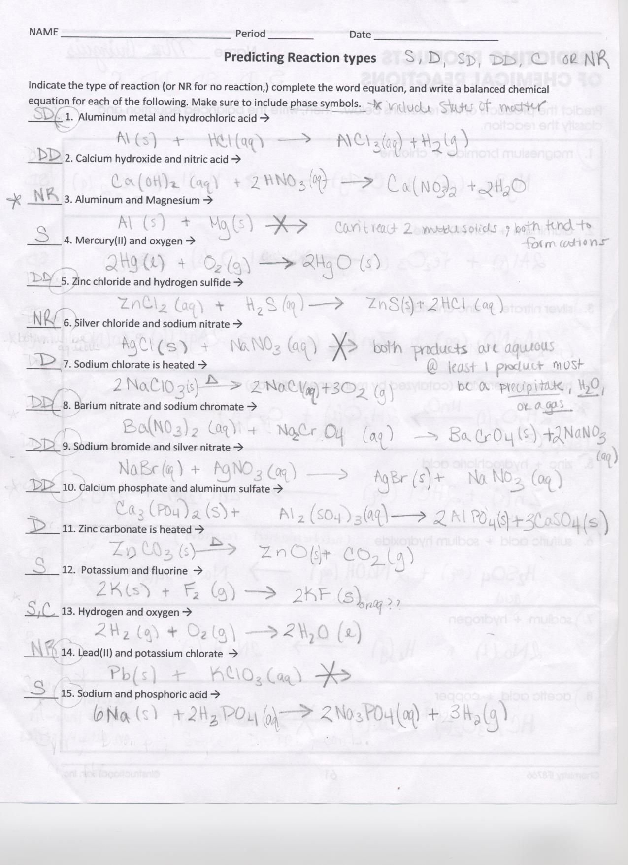 Predicting Products Worksheet Answer Key — excelguider.com