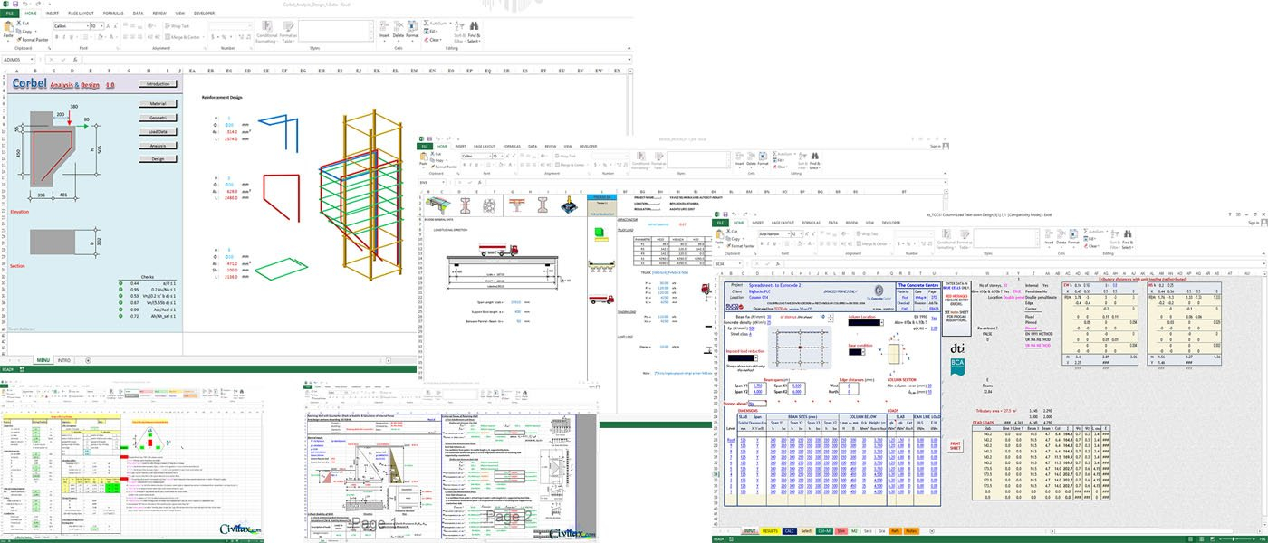 Premium Civil Engineering Spreadsheets Collection   Civil ... For Base Plate Design Spreadsheet Free