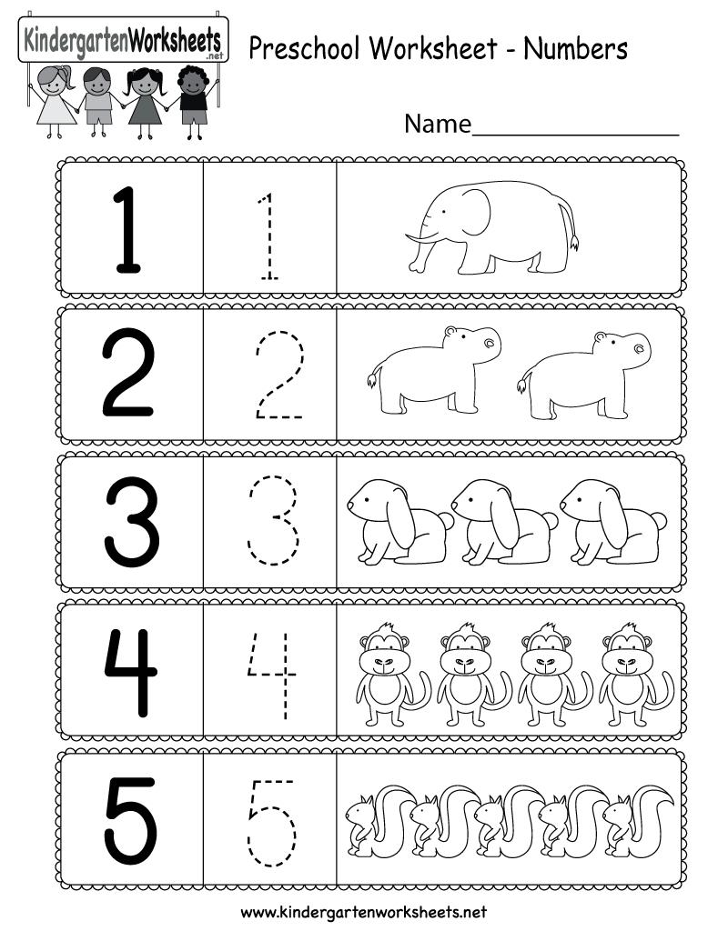Preschool Worksheet Using Numbers  Free Kindergarten Math Worksheet And Preschool Number Worksheets