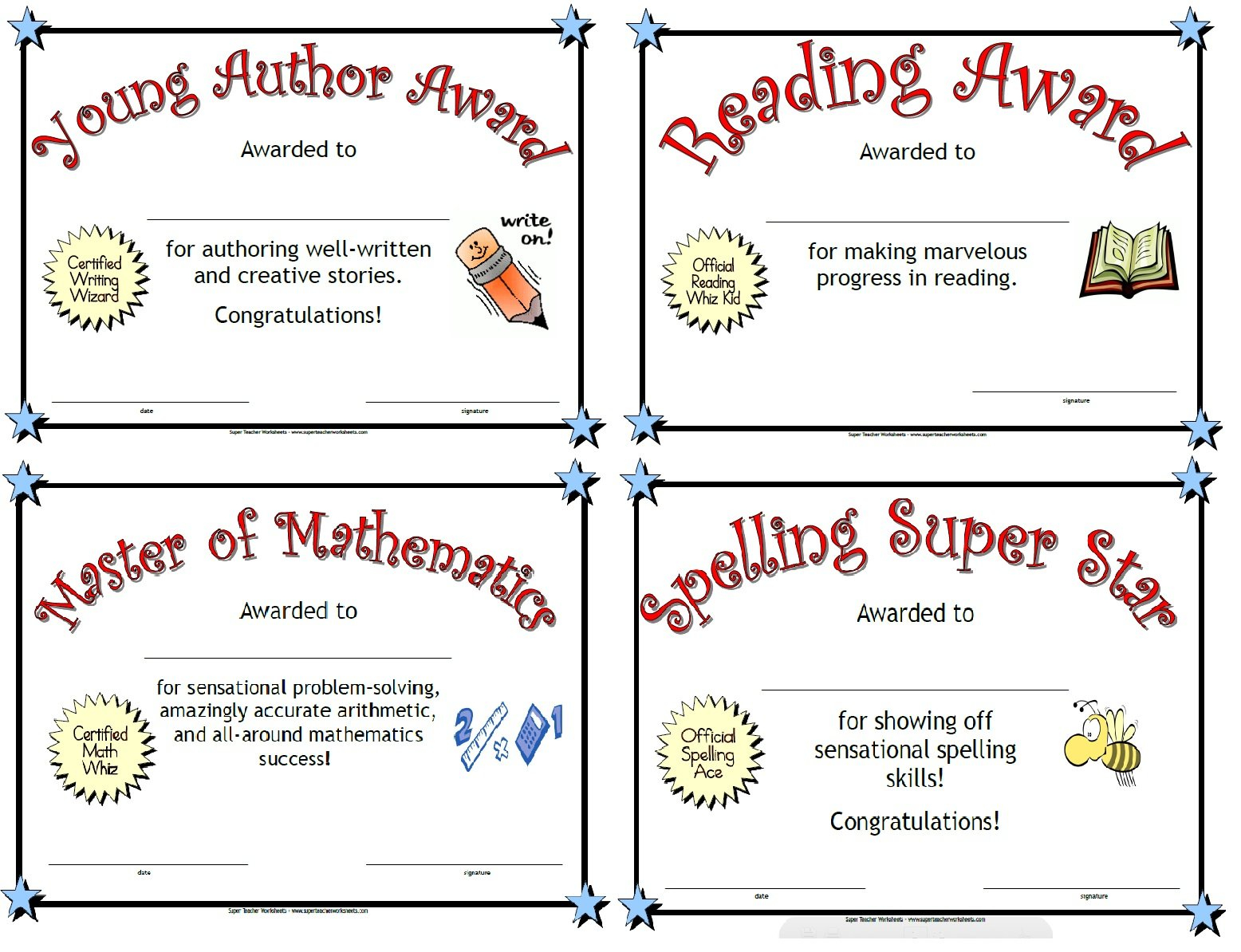 Printable Awards With Super Teacher Worksheets Reading Comprehension