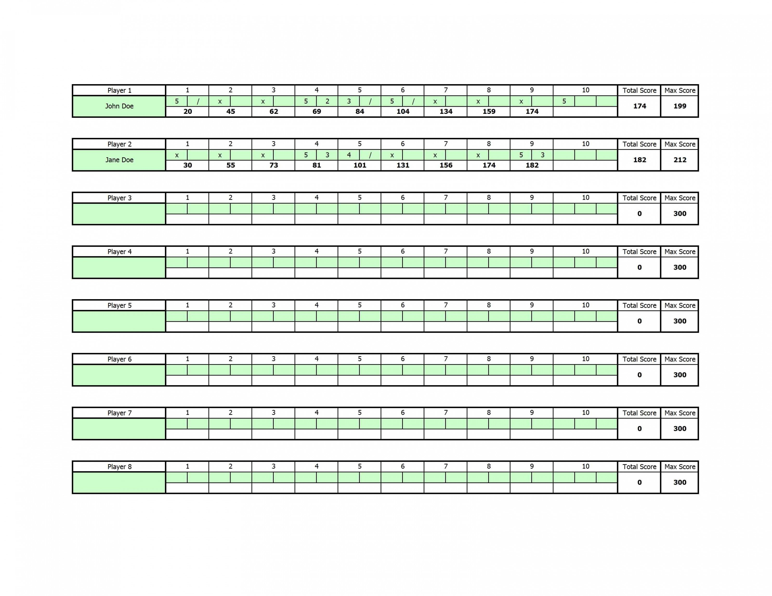 Printable Bowling Excel Spreadsheet Zorayayodhyaco Bowling League ... In Bowling Spreadsheet