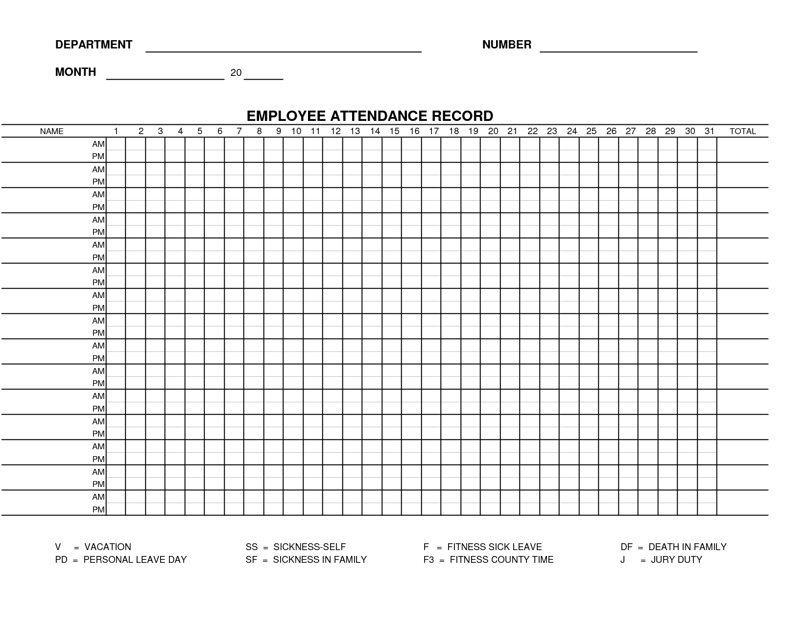 Printable Employee Attendance Sheet Template | Form 15   Employee ... For Employee Annual Leave Record Spreadsheet