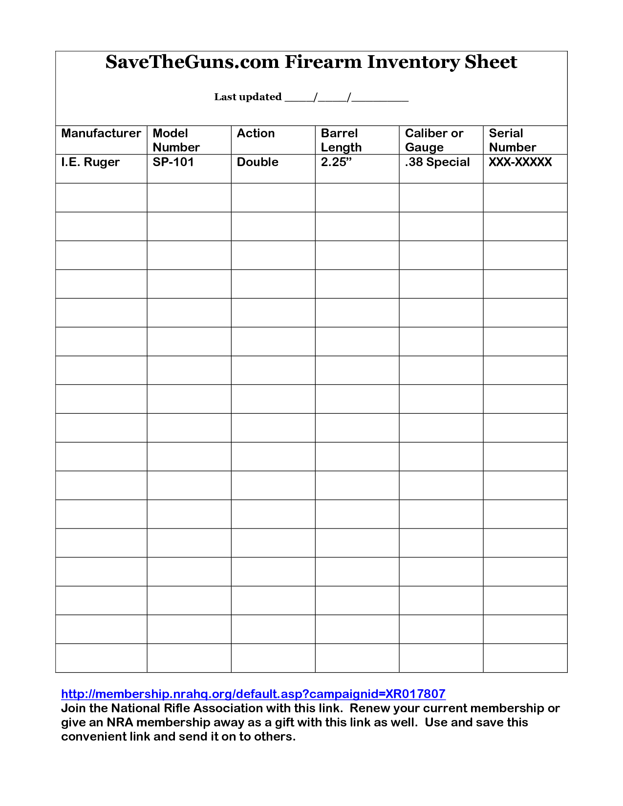 Printable Gun Inventory Form | Firearm Inventory Sheet By ... Also Football Equipment Inventory Spreadsheet