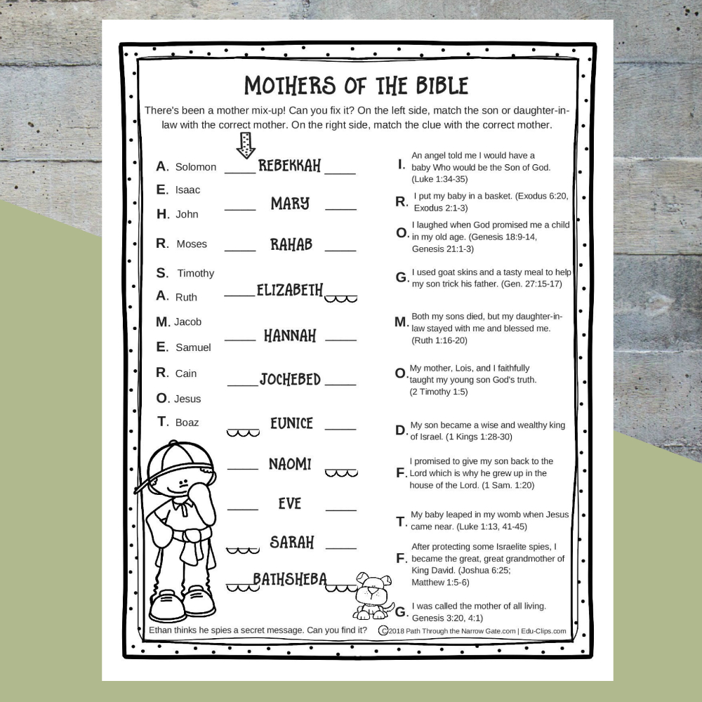 Printable Mothers Of The Bible Worksheet  Path Through The Narrow Gate Throughout Christian Worksheets For Kids