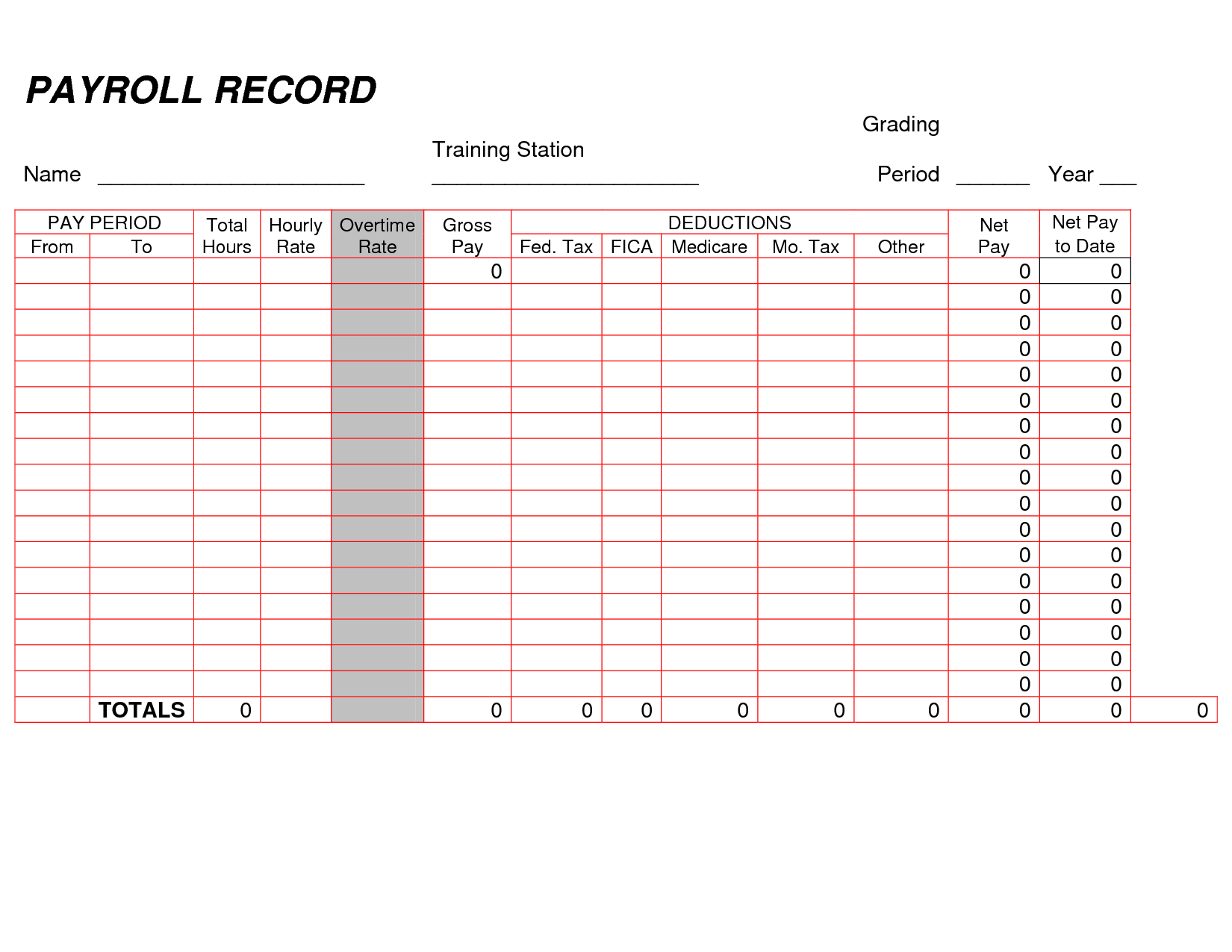 Printable Payroll Ledger | Blank Payroll Record   Pdf | Work ... In Monthly Bookkeeping Record Template