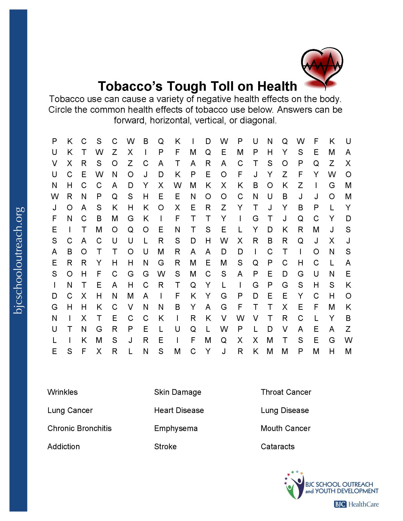 Printable Worksheets Throughout Free Health Worksheets For Middle School