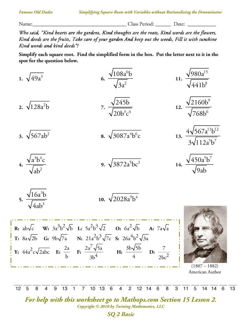 Printables Simplifying Square Roots Worksheet Lemonlilyfestival Together With Square Root Worksheets 8Th Grade Pdf