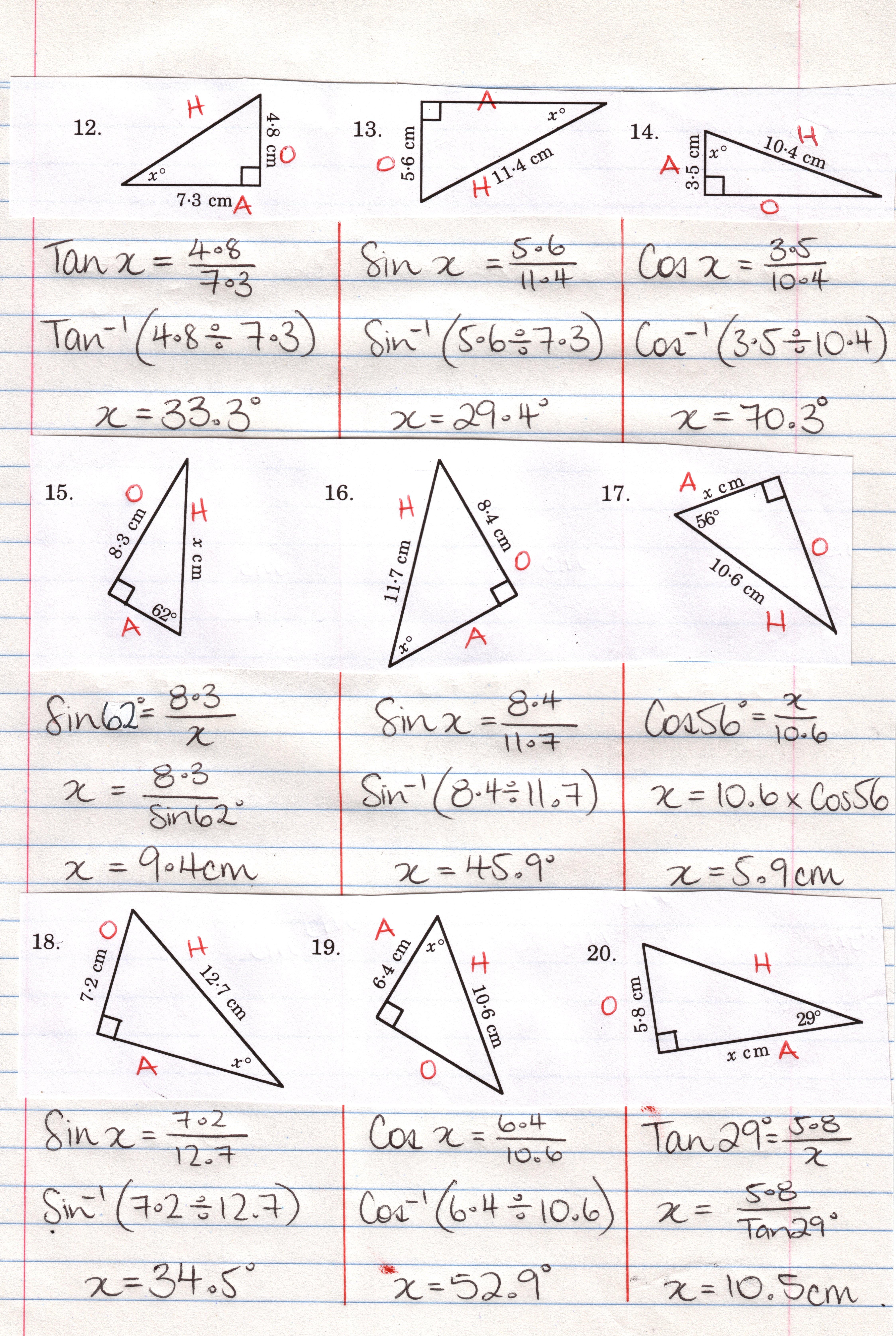 Printables Trigonometry Worksheets With Answers Lemonlilyfestival Within Trigonometric Ratios Worksheet Answers