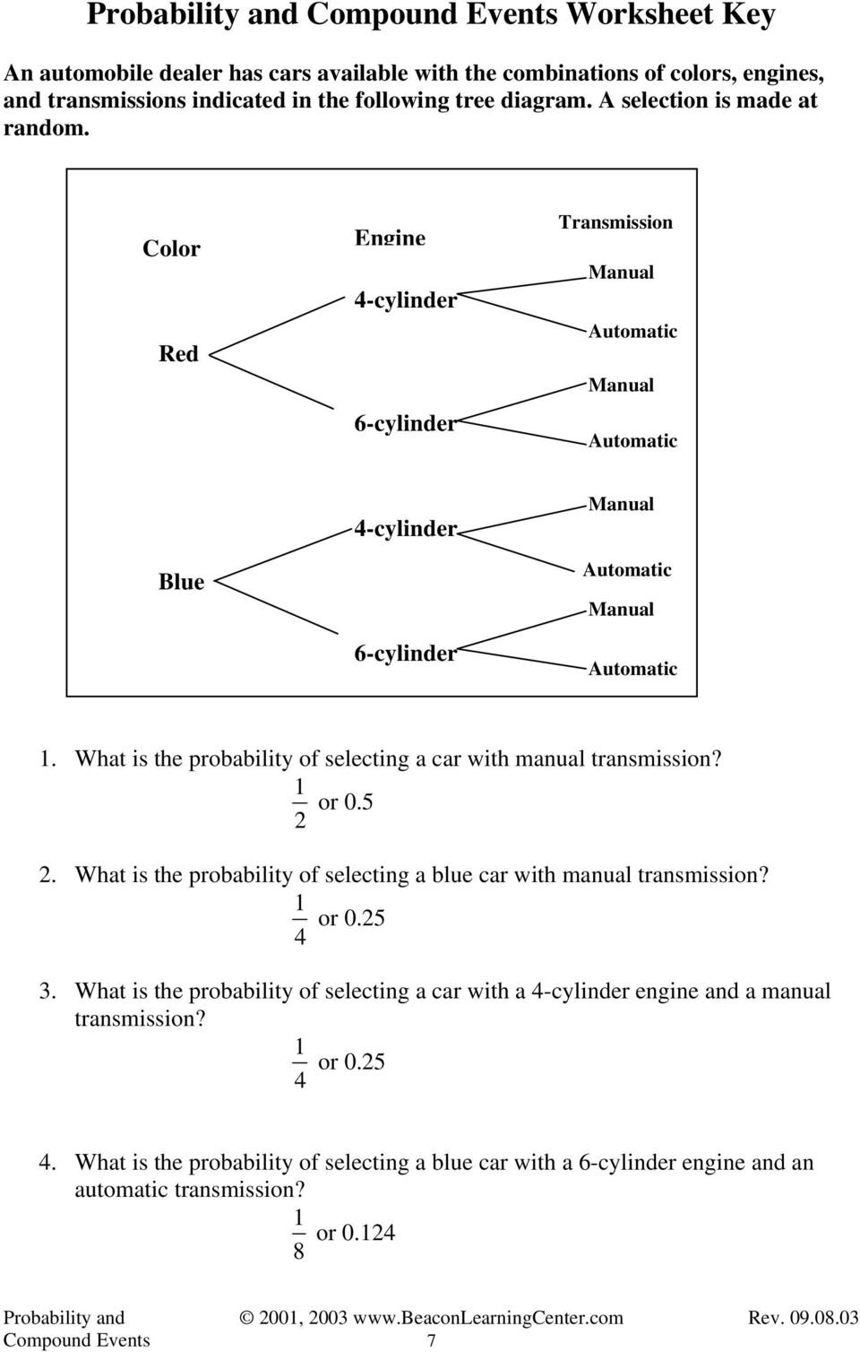 Probability And Compound Events Examples  Pdf With Regard To Probability Of Compound Events Worksheet Answers